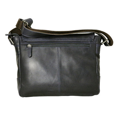 Cowhide leather shoulder bag with flap and shoulder strap, dark blue