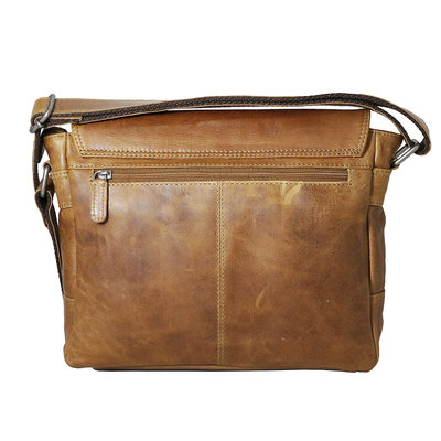 Cowhide leather shoulder bag with flap and shoulder strap, cognac