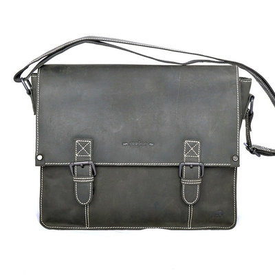 Buffalo messenger bag with buckles, black