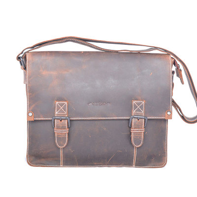 Buffalo messenger bag with buckles, cognac