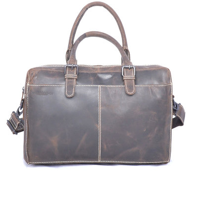 Buffalo shoulder bag with handles, dark brown