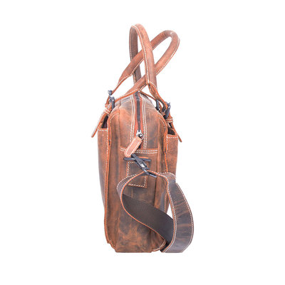Buffalo shoulder bag with handles, cognac