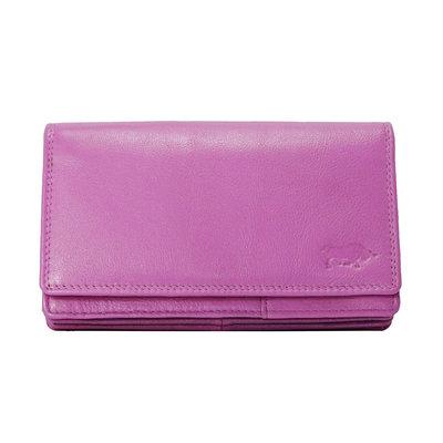 Leren dames portemonnee, roze, large size