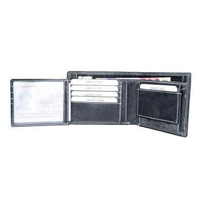 Buffelleren portemonnee met RFID bescherming met groot ritsvak, zwart