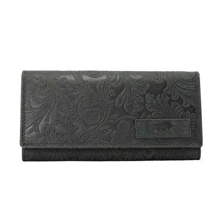 Zwart Leren Dames Portemonnee met Bloemenprint
