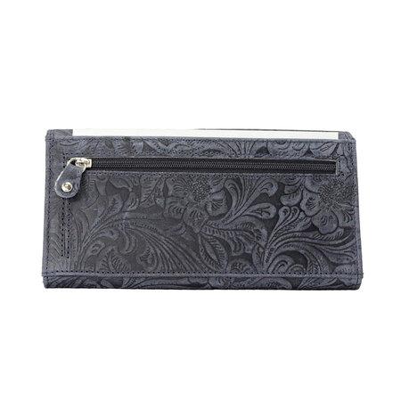 Lederen dames portemonnee met bloemenprint, donkerblauw