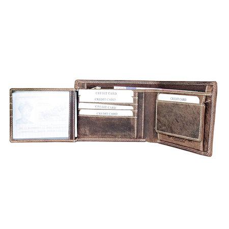 Buffelleren portemonnee met RFID bescherming met groot ritsvak, cognac