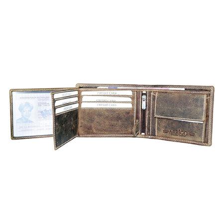 RFID billfold heren portemonnee van buffelleer in de kleur cognac