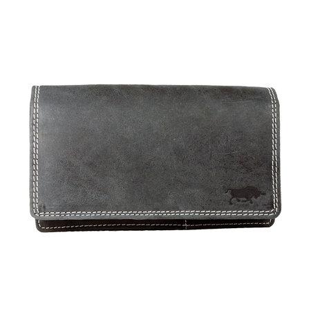Zwarte Leren Dames Portemonnee Met RFID Bescherming