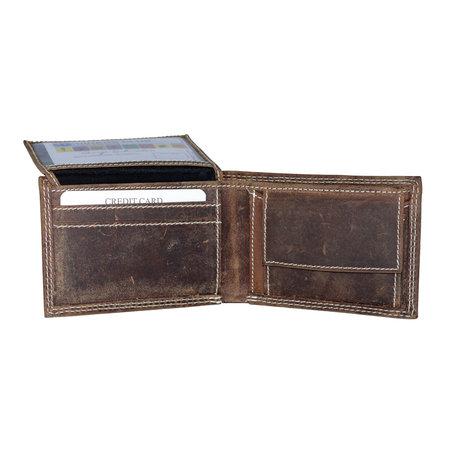 Buffeleren billfold portemonnee, laag model in de kleur cognac