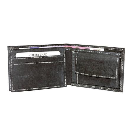 Buffeleren billfold portemonnee, laag model in de kleur zwart