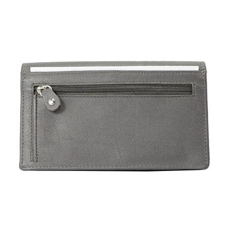 Leren dames portemonnee met RFID-bescherming, grijs, large