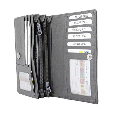 Dames Portemonnee van Grijs Leer met RFID-bescherming