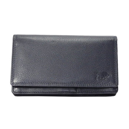 Leren dames portemonnee met RFID-bescherming, donkerblauw, large