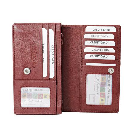 Dames Portemonnee van Donkerrood Leer met RFID-bescherming