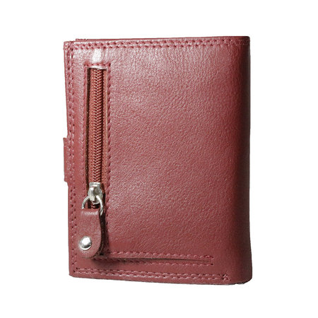 Card holder made of cow leather in the color dark red