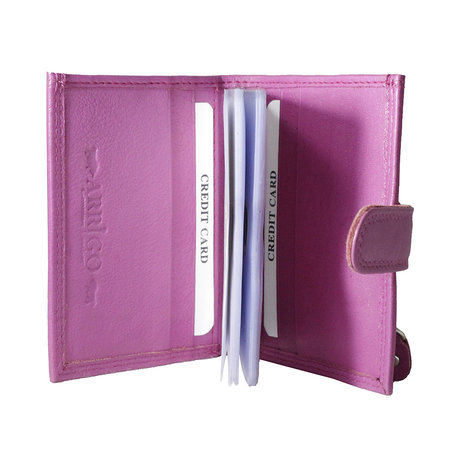 Card holder made of cow leather in the color pink