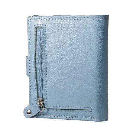 Leren anti skim pasjeshouder mapje in de kleur lichtblauw