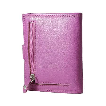 Leren anti skim pasjeshouder mapje in de kleur roze