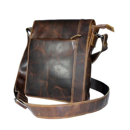 Gewaxt leren schoudertas met klep in de kleur bruin