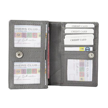 Grijs rundleren RFID portemonnee, medium