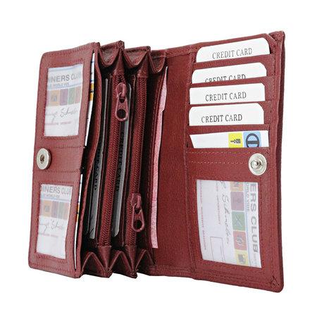 Donkerrood rundleren RFID portemonnee, medium
