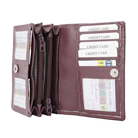 Bordeaux rundleren RFID portemonnee, medium