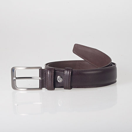 Italian dark brown leather belt with stylish little silver colored buckle