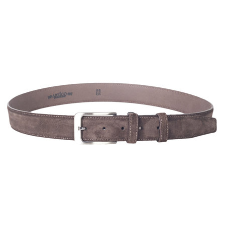 Italian dark brown suede leather belt with stylish little silver colored buckle