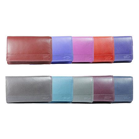 Donkerblauw rundleren anti skim portemonnee, medium