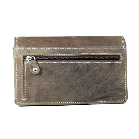 Cognac harmonica portemonnee van buffelleer, groot model
