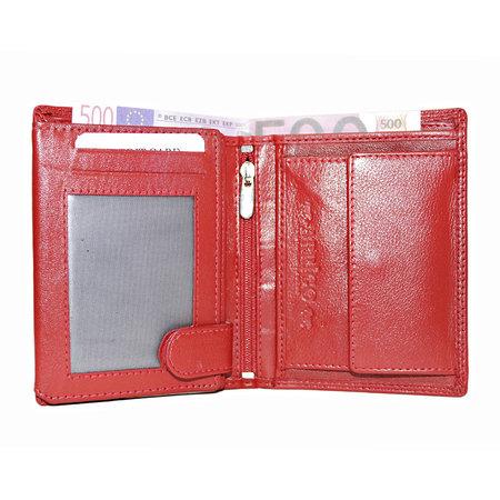 Compacte rood leren billfold euro portemonnee