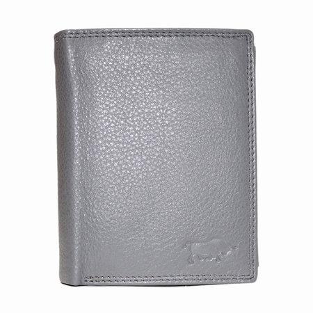 Compacte grijs leren billfold euro portemonnee