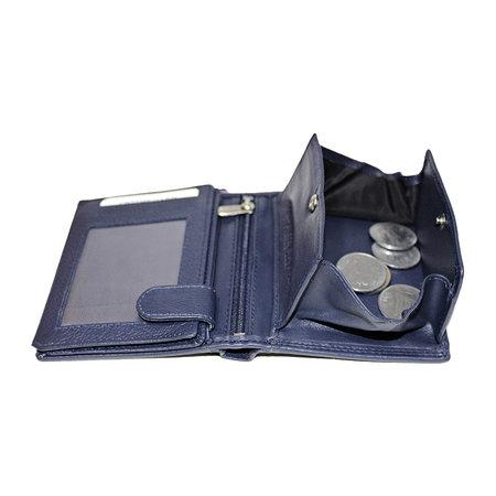 Compacte donkerblauw leren billfold euro portemonnee