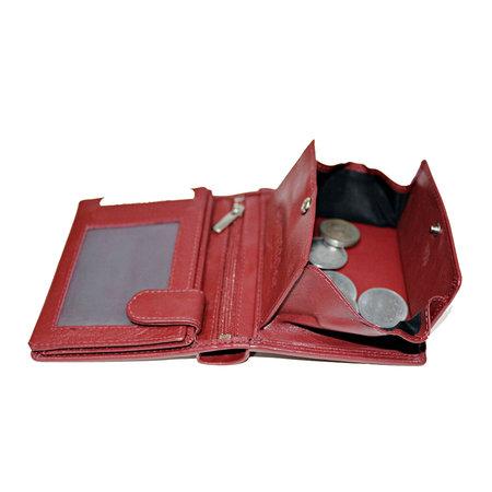 Compacte donkerrood leren billfold euro portemonnee