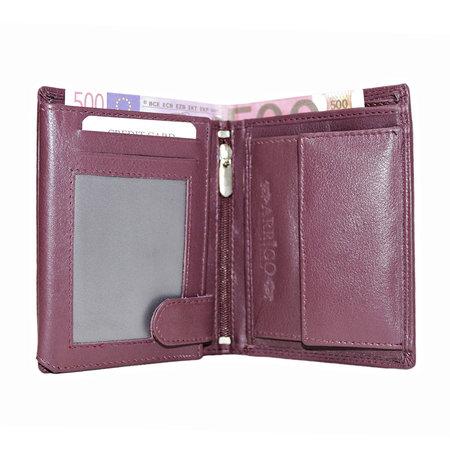 Compacte bordeaux leren billfold euro portemonnee