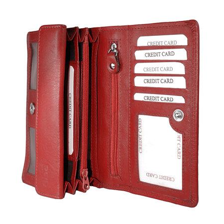 Rood leren harmonica portemonnee, groot model