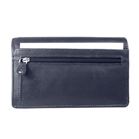 Donkerblauw leren harmonica portemonnee, groot model