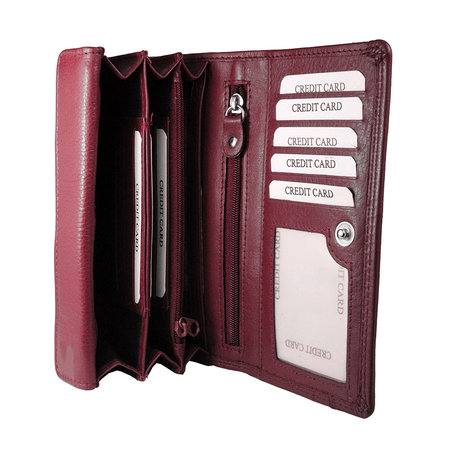Donkerrood leren harmonica portemonnee, groot model