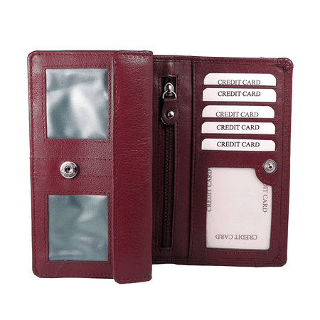 Donkerrood leren harmonica RFID portemonnee, groot model