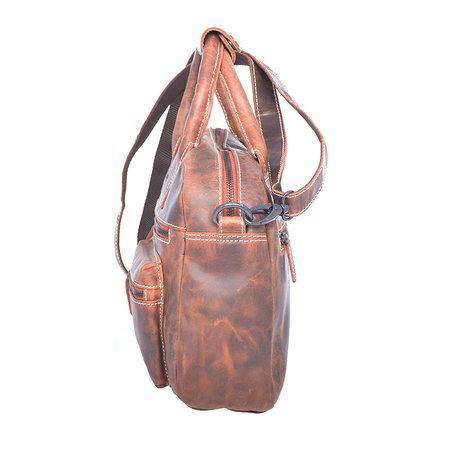 Westernbag van trendy buffelleer in de kleur cognac