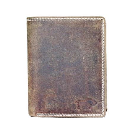 Billfold Heren RFID Portemonnee Van Bruin Leer