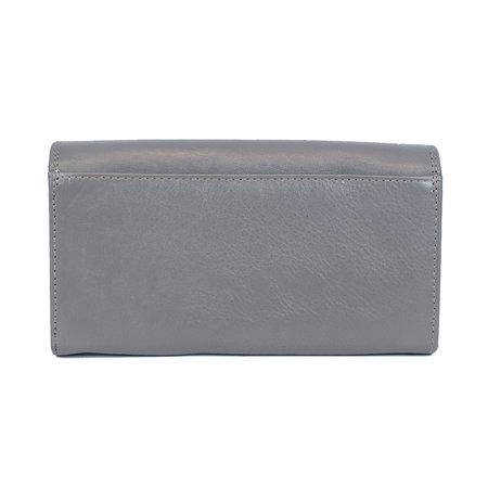 Grijze dames portemonnee met klep en knipsluiting