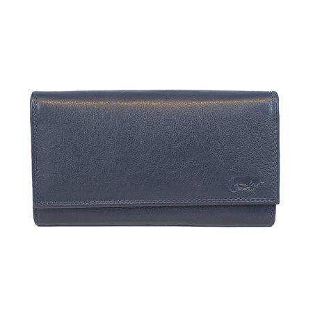 Donkerblauwe dames portemonnee met klep en knipsluiting
