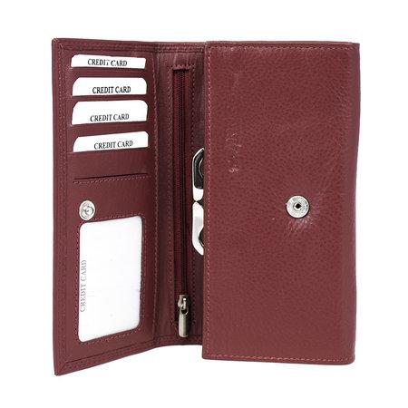 Donkerrode dames portemonnee met klep en knipsluiting
