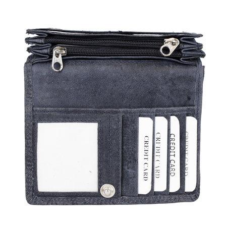 Dames portemonnee met bloemenprint van donkerblauw rundleer