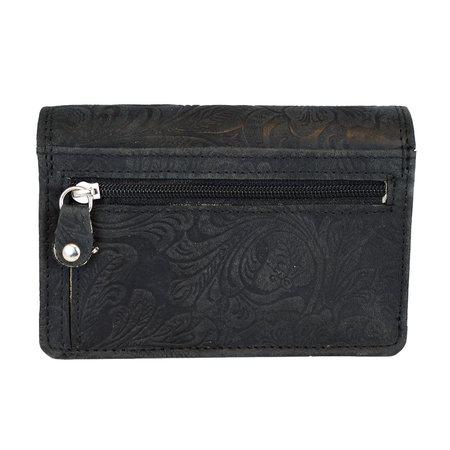 Dames portemonnee met bloemenprint van zwart rundleer