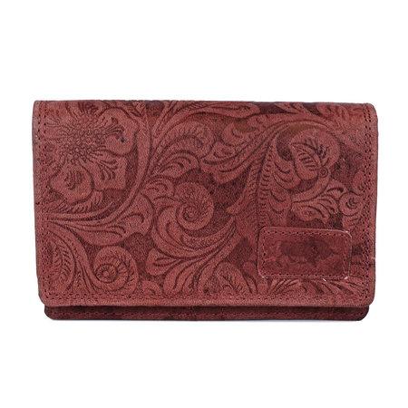 Dames portemonnee met bloemenprint van rood rundleer