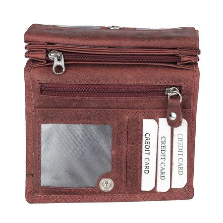 Rode rundleren dames portemonnee met bloemenprint