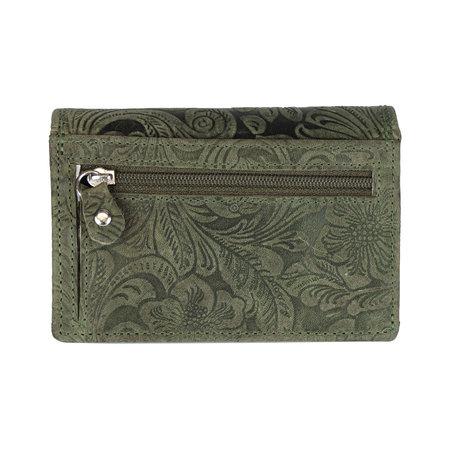 Groene rundleren dames portemonnee met bloemenprint